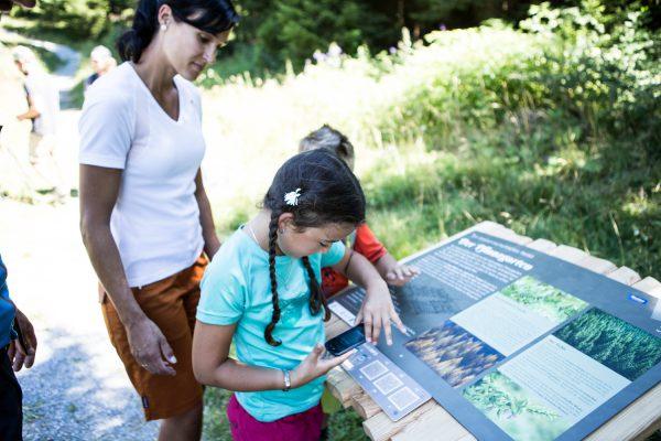 Innovative Leitsysteme: Kinder bei Schild auf Themenweg