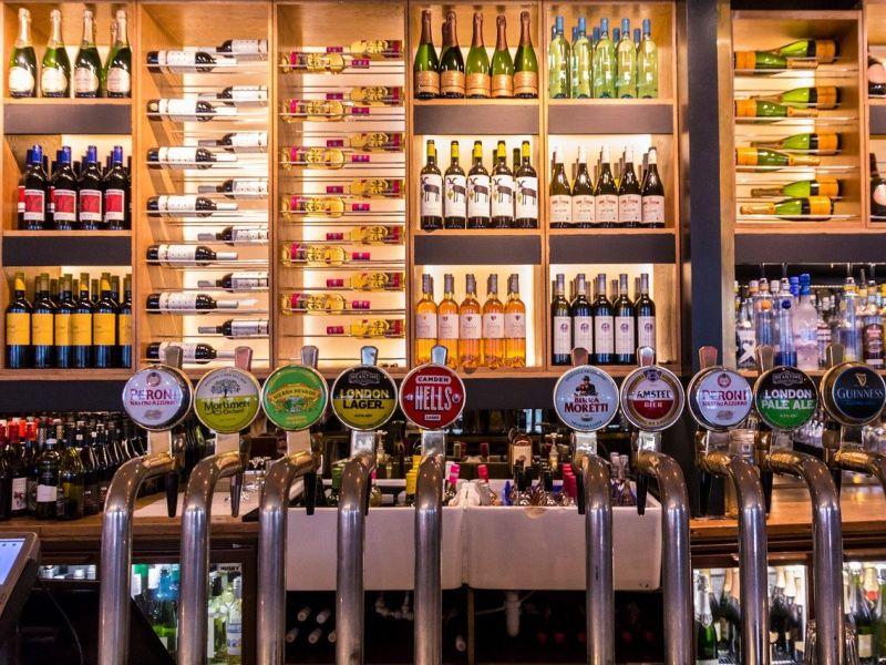 Pub with high value liquor shelves