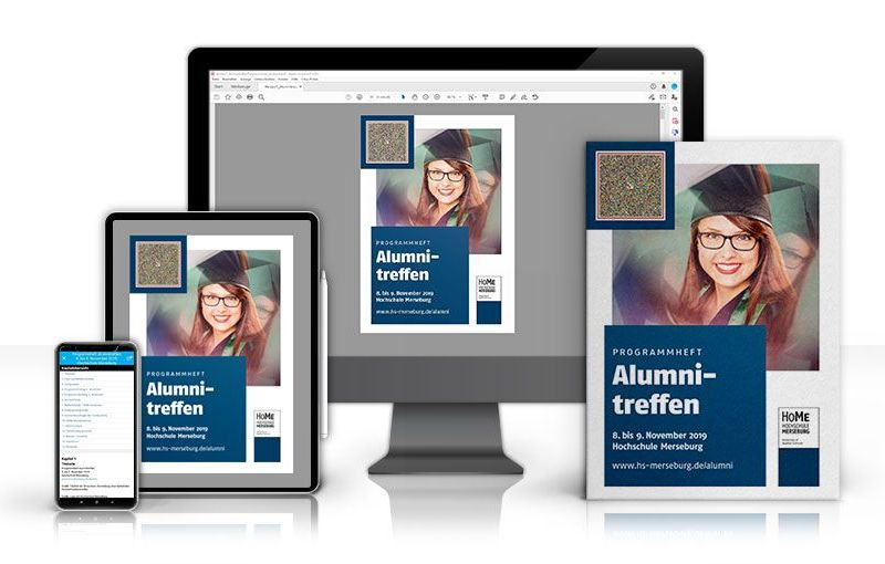 "This is the accessible brochure. PC screen, flanked by 2 tablets and a smartphone with white background. All display a pic of the brochure. A picture of a girl, wearing glasses and a graduate hat fills the upper 2 thirds of the brochure. In the left lower corner is a big darkblue box with large white font stating ""Alumni Meeting"". In the left upper corner there is a Speech Code. On the smartphone the speechcode app shows the text and reads it out aloud"