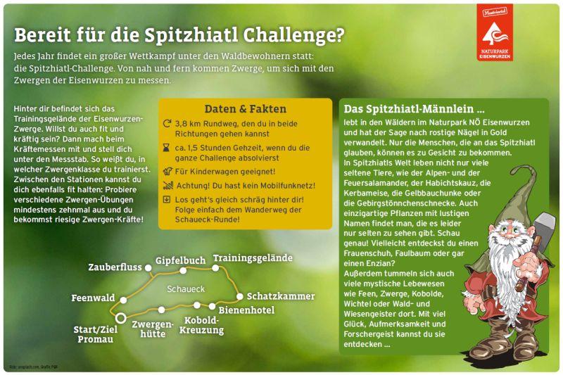 Themenwege für Kinder - Schild aus dem Naturpark Nieder österreichische Eisenwurzen, mit dem Kinder zum Mitmachen an der Spitzhiatl-Challenge aufgefordert werden