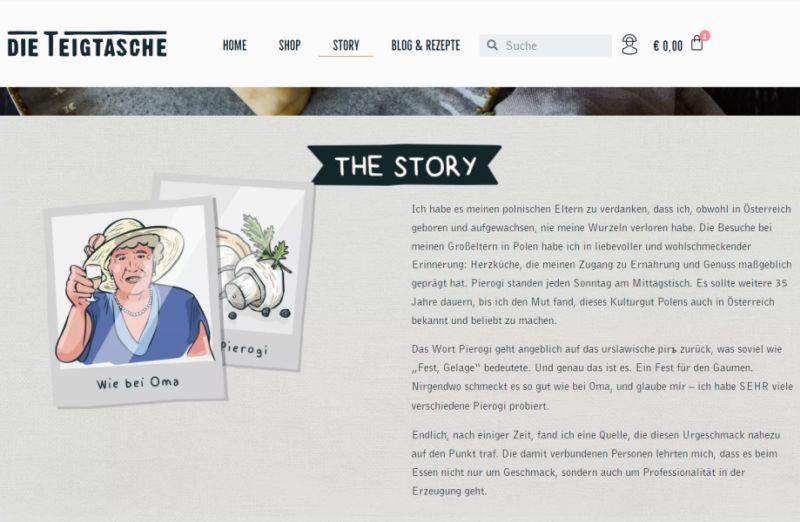 Website von die Teigtasche erzählt seine Story